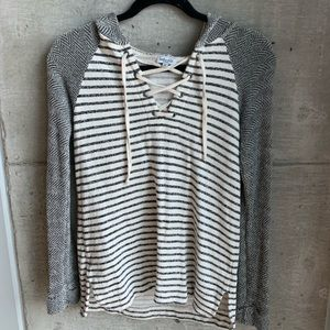 Hooded Lace-up summer pullover sweater